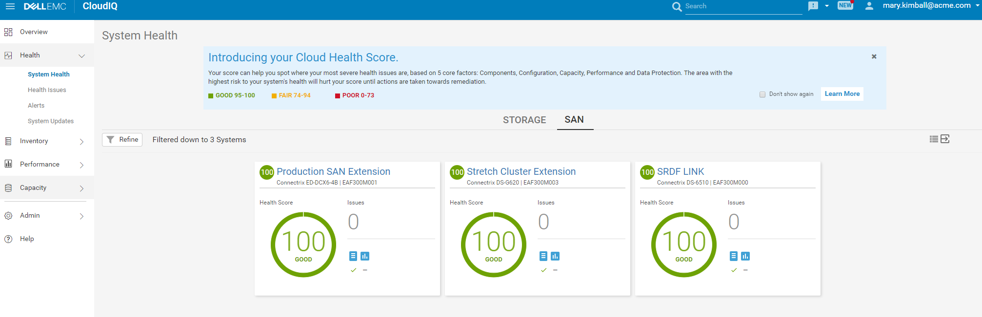 System Health View – SAN