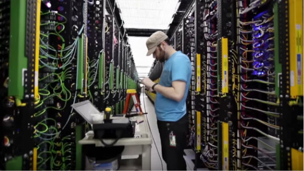 hipster dude in datacenter