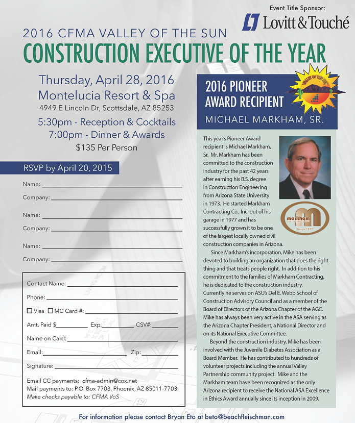 2016 CFMA Valley of the Sun Construction Executive of the Year @ Montelucia Resort & Spa | Paradise Valley | Arizona | United States