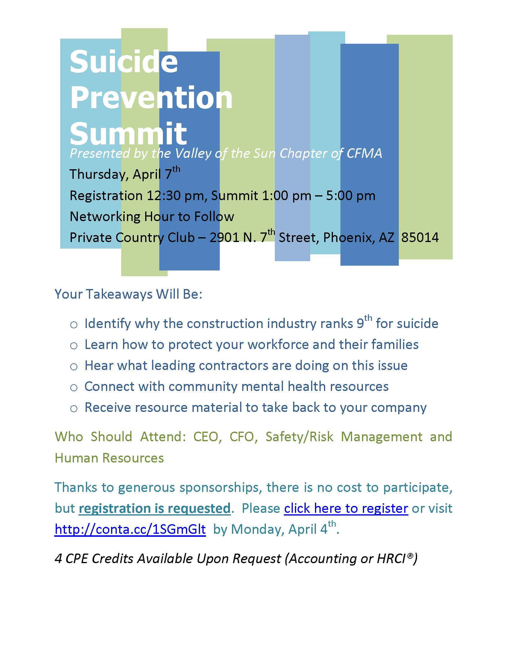 CFMA AZ, Suicide Prevention Summit @ Private Country Club | Phoenix | Arizona | United States