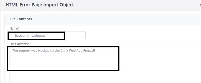 HTML Error Object