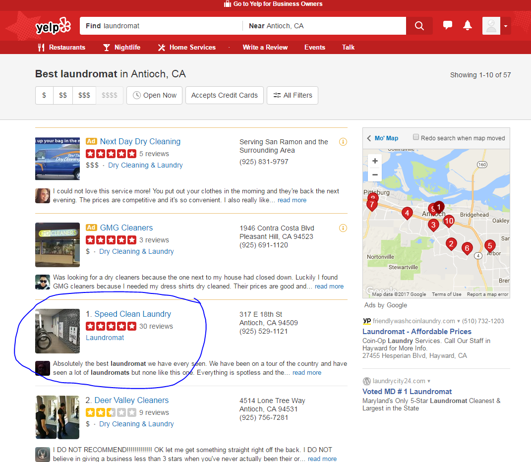 screen shot of Yelp search