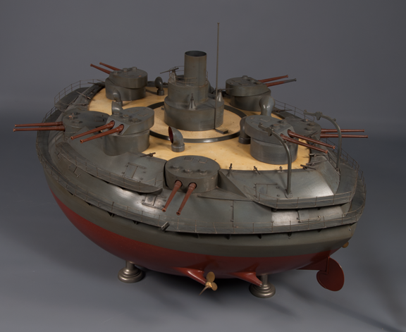 Before treatment, Globuloid Naval Battery Model (Courtesy of The Mariners' Museum and Park)