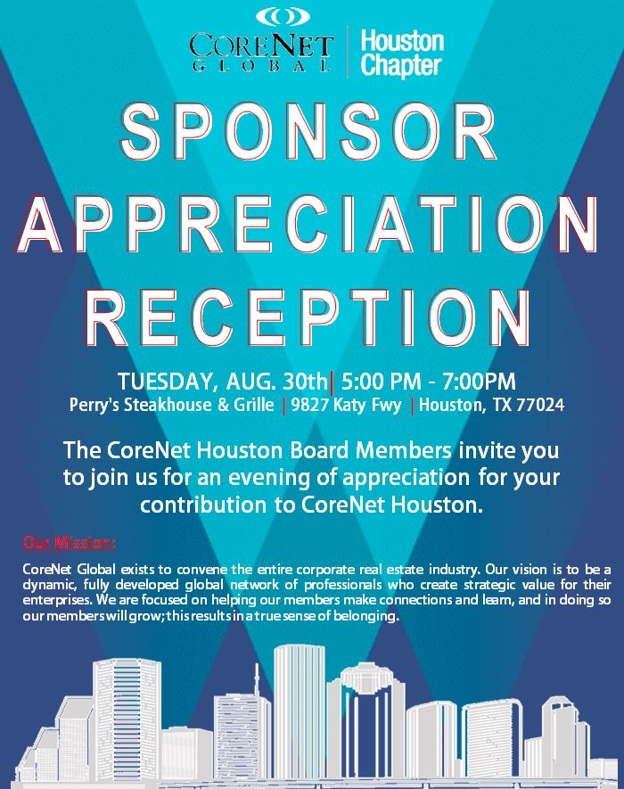 sponsor appreciation reception invitation only corenet global