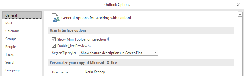 screen shot of outlook options