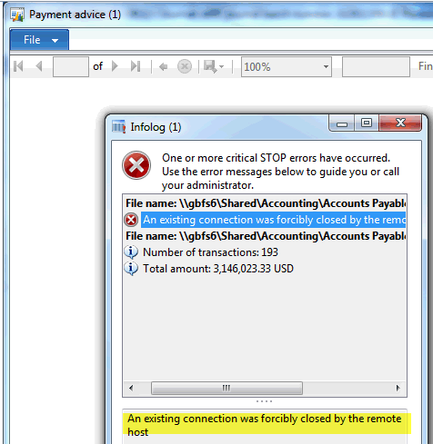 Error msg during EFT payment processing