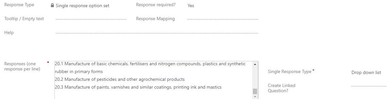 screen dump from survey question