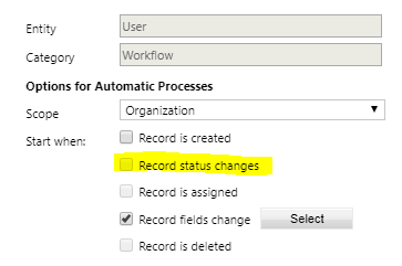 User workflow triggers don't allow a workflow to be triggered against a user based on status change.