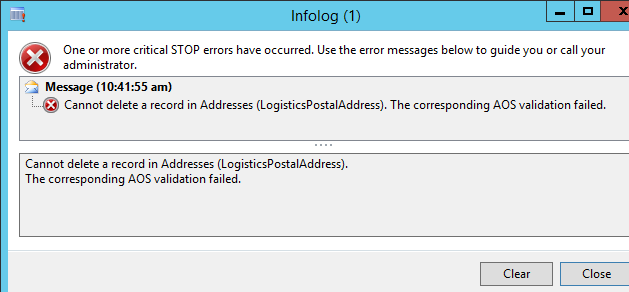 Error when trying to delete a cust address being used on an open SO