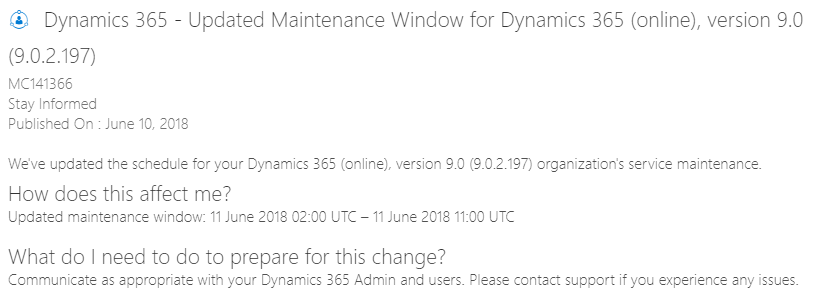 screenshot CRM upgrade pending