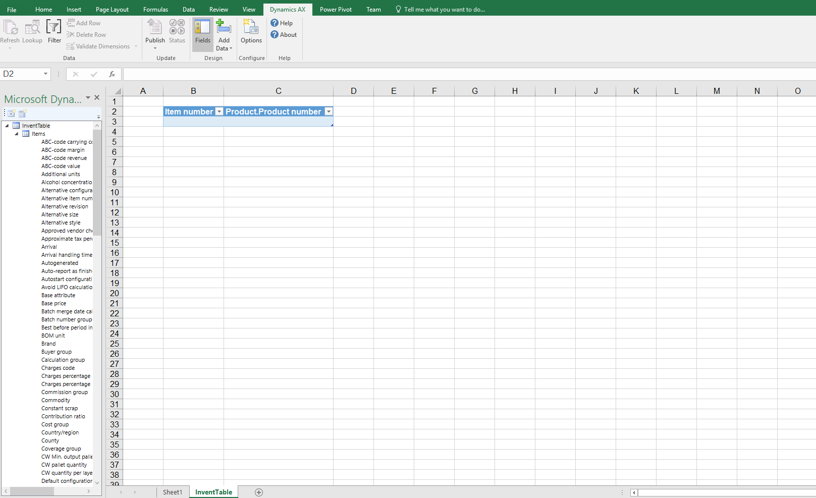 Excel - Dynamics AX (screenshot)