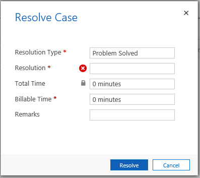 Resolve Case form
