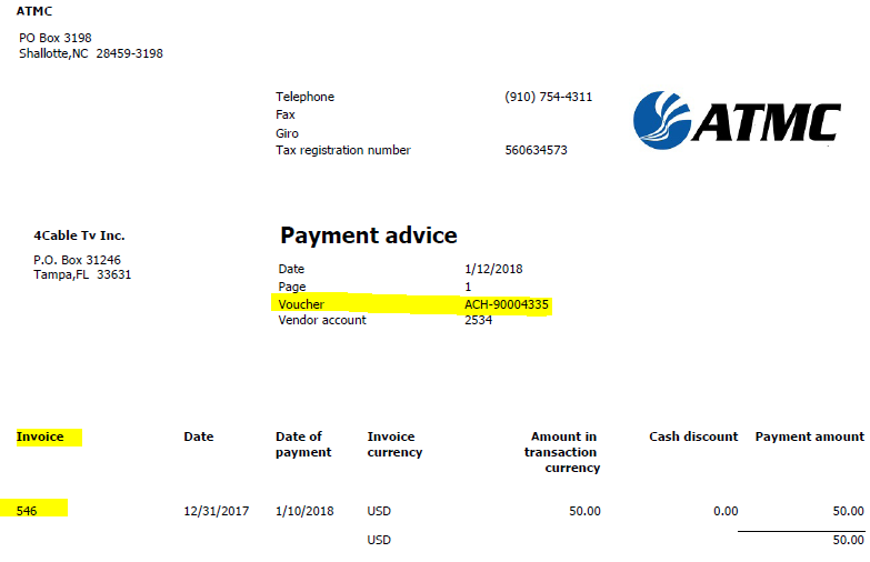 Payment Advice Example
