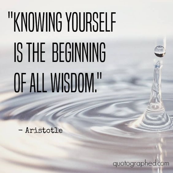 Knowing yourself is the beginning of all wisdom.