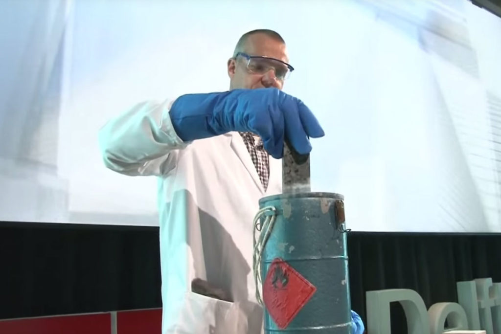 Self Healing Asphalt demonstration at TED Talk