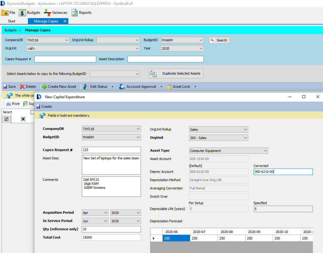 Data Entry Screen