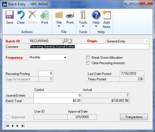 Batch ID Recurring - Options