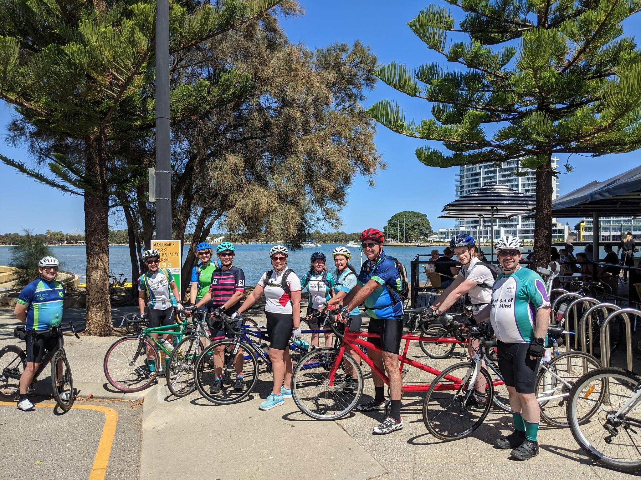 4 Tandems and 2 single bikes on the Mandurah Foreshore