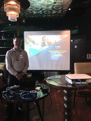 "SEAT Regional SE Director presenting  Aruba's Mobile FIrst Architecture at ""Whisky Room"""