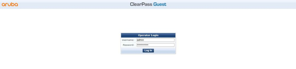 login to clearpass policy manager