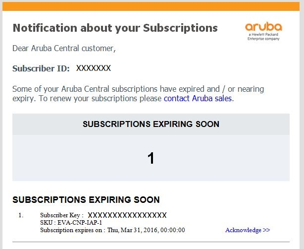 Will I Be Notified When License In My Aruba Central Account Is About To Expire