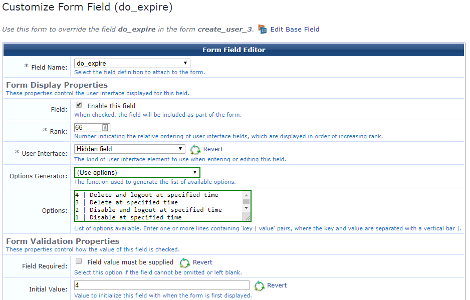 "Custom field ""do_expire"""