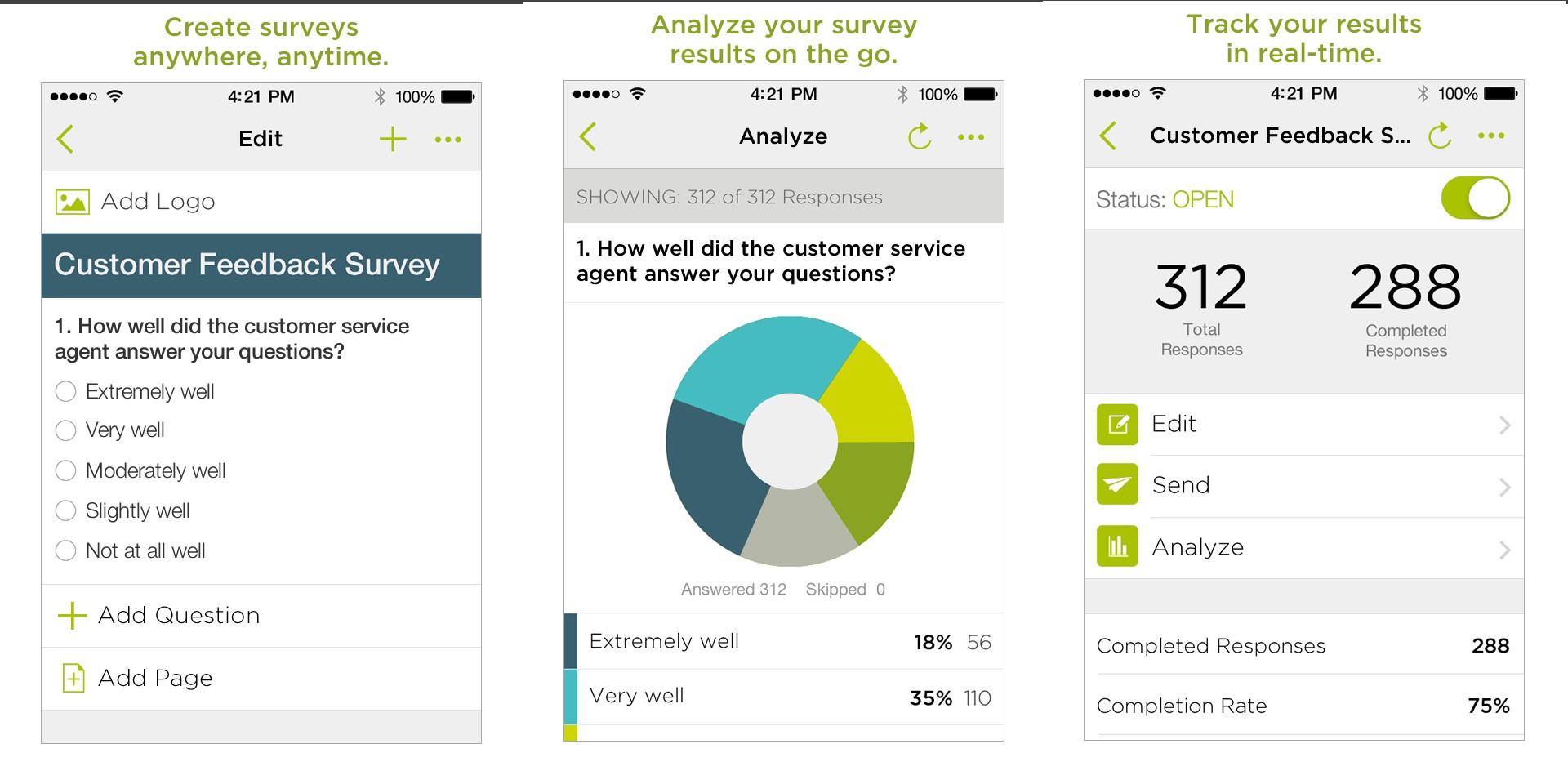 surveymonkeys mobile version allows you to create surveys and track results on the go