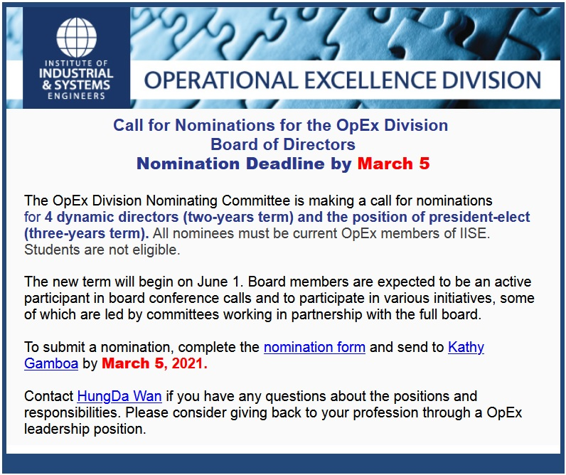 OpEx Division Election