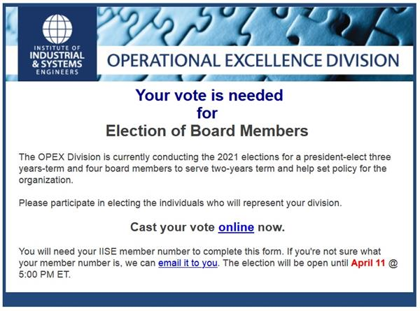IISE OpEx Division Election Ballot