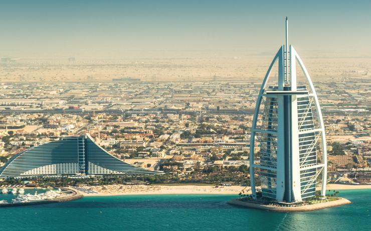 The Burj Al Arab Hotel, on the beach near Madinat Jumeriah Resort.