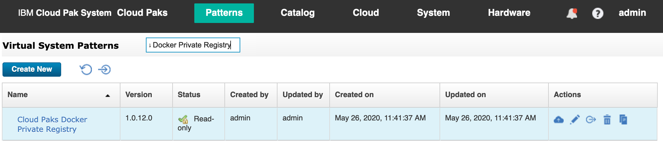 Cloud Paks Docker Private Registry virtual system pattern in IBM Cloud Pak System