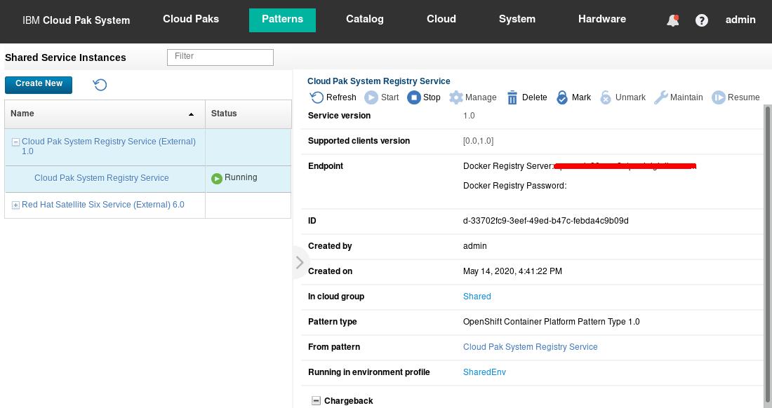 Deployed Cloud Pak System Registry Service shared service instance