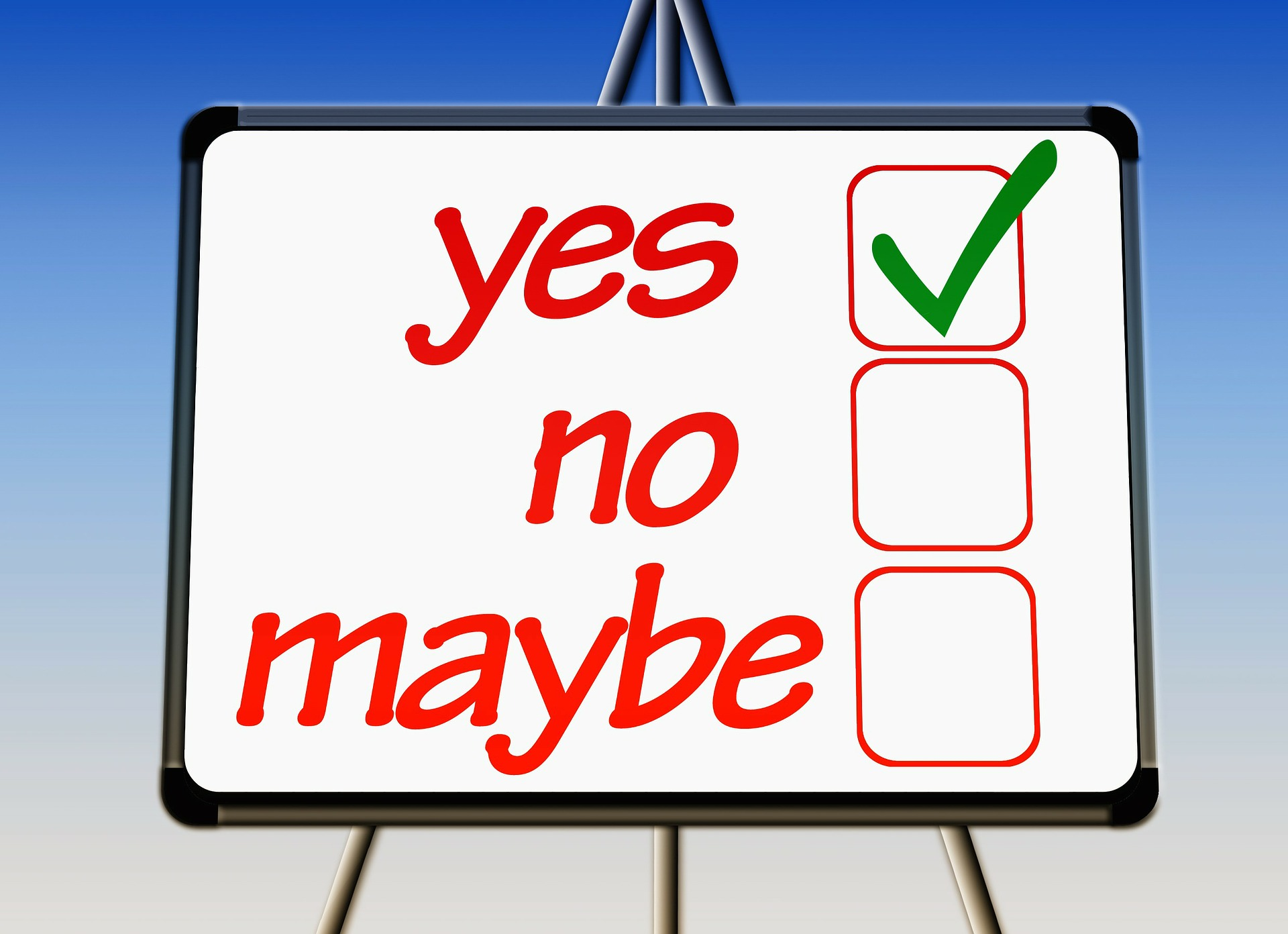 yes, no, maybe checklist