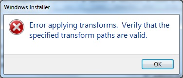 Error applying transforms. Verify that the specified transform paths are valid.