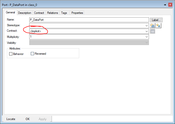 Features dialog of a standard port, General tab, no interface selected (<<implicit>>)