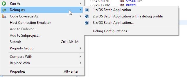 Debug As context menu
