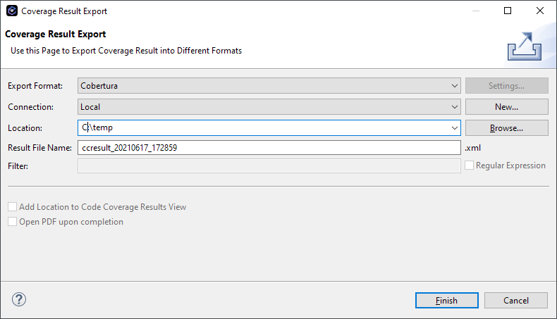 Coverage Result Export dialog