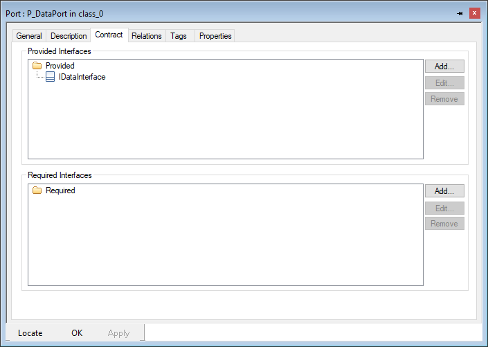 Features dialog of a standard port, Contract tab, interface selected as provided interface