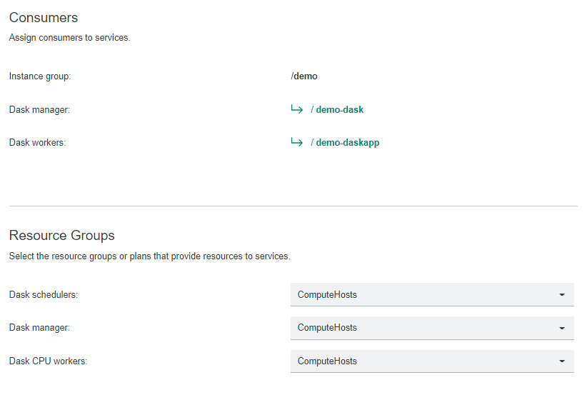 Select Dask consumers and resource groups for the instance group.
