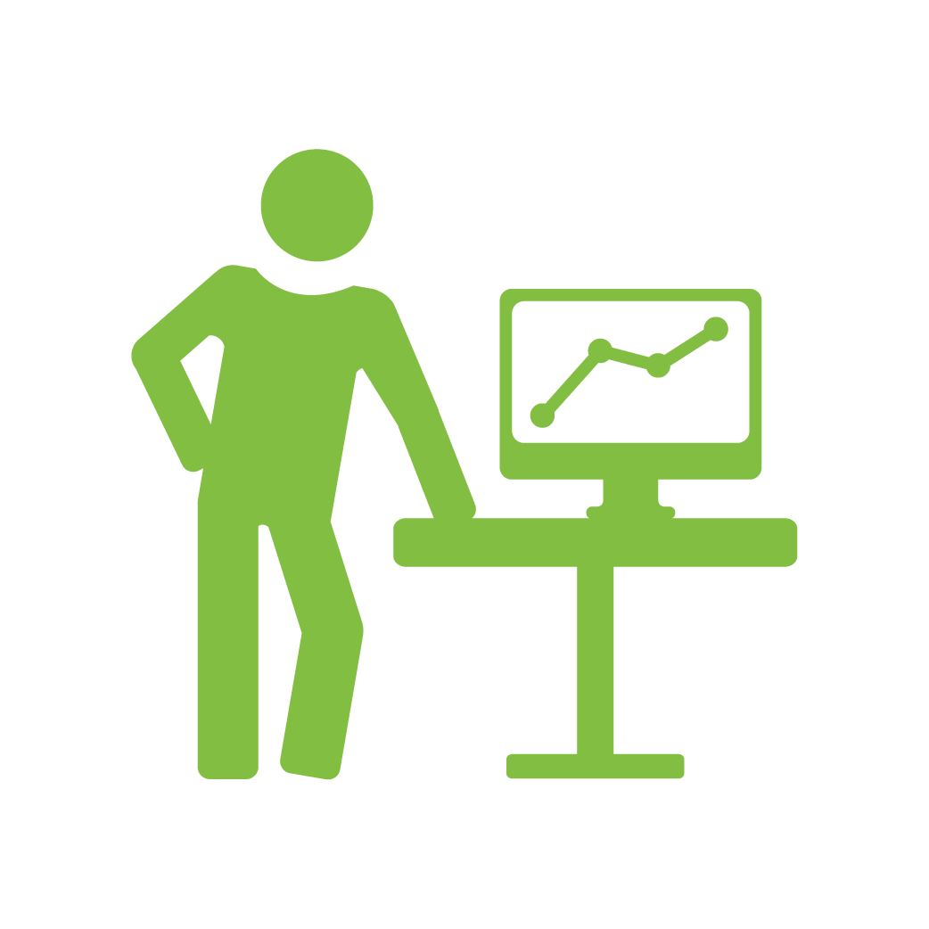 icon of person standing next to a table with a computer on it