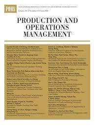 Production and Operations Management - Wiley Online Library