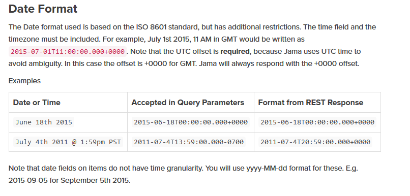 Jama rest api documents related to date format    Support