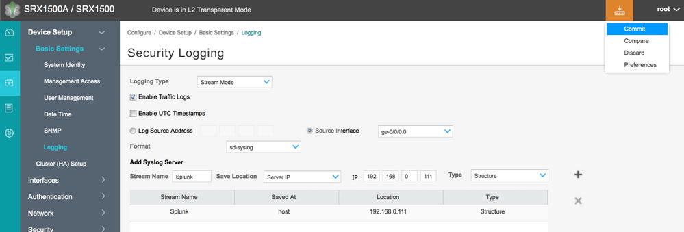 Adding Splunk via J-Web