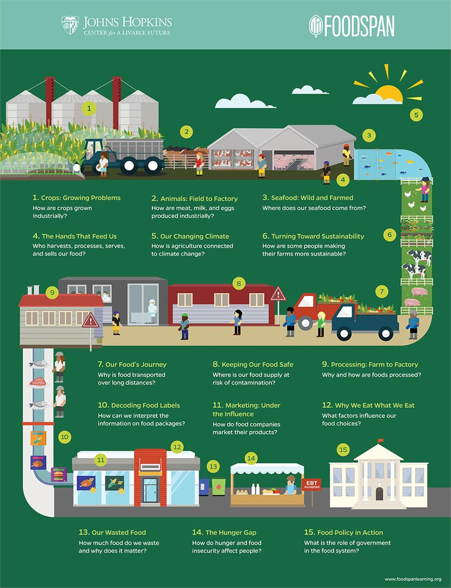 food system infographic from farm to processing to retail and food service to food waste, food insecurity, and policy.