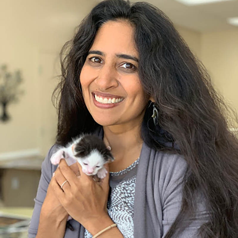 Dr. Jyothi V. Robertson and one of her rescue kittens