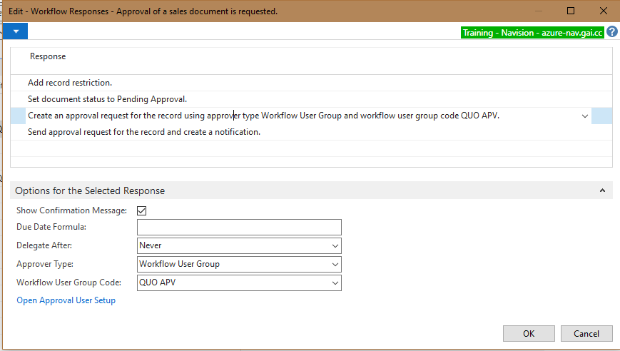This screenshot shows that a Workflow User Group is setup as the Approver. It is unclear to whom the Notification should be sent.