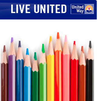 Image of United Way logo and bright colored pencils