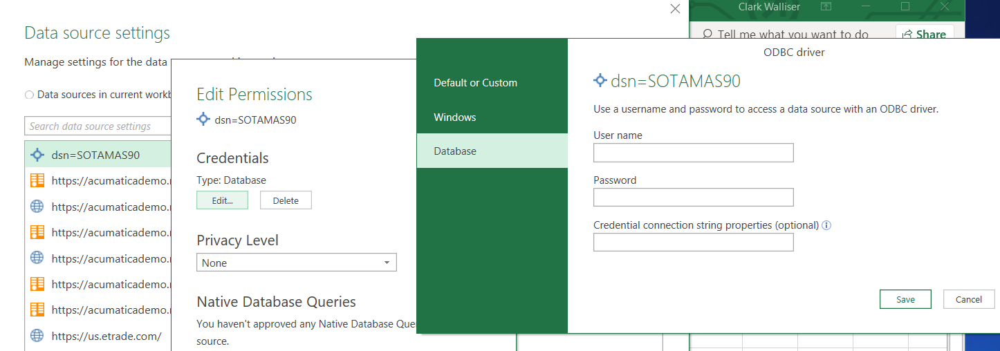 Parameter to enter user login credentials to odbc data
