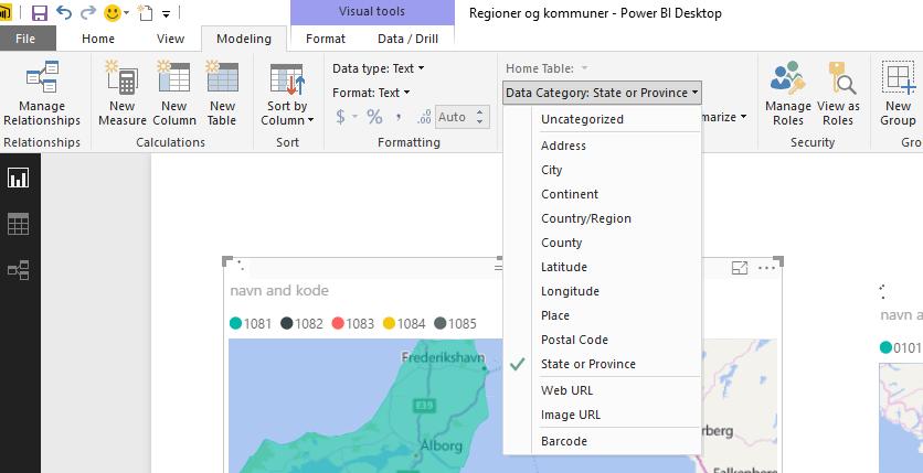 Kort Med Regioner Og Kommuner Microsoft Bi Professionals Denmark
