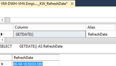 SQL refreshdate source